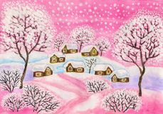 Winter landscape in pink colours, painting Royalty Free Stock Images