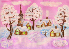 Winter landscape on pink, painting Stock Image