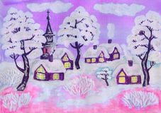 Winter landscape on pink, painting Royalty Free Stock Image