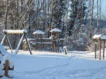 Winter Landscape, the playground under snow. Royalty Free Stock Photos