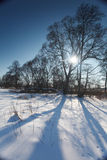 Winter landscape in Poland. Sun on the frozen landscape Royalty Free Stock Photography