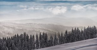 Winter landscape in polish beskidy mountains Royalty Free Stock Images