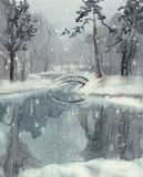 Winter landscape with a pond watercolor Stock Photos