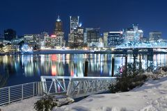 Winter Landscape of Portland Oregon. Snowy Landscape of Portland Oregon USA stock photography