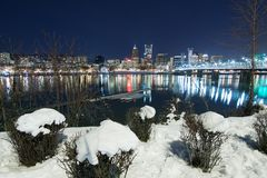 Winter Landscape of Portland Oregon. Snowy Landscape of Portland Oregon USA royalty free stock image
