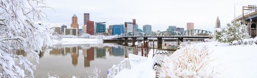Winter Landscape of Portland Oregon. Snowy Landscape of Portland Oregon USA stock photos