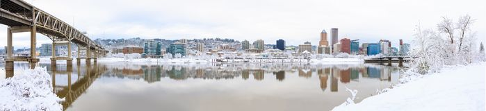 Winter Landscape of Portland Oregon. Snowy Landscape of Portland Oregon USA by Waterfront royalty free stock image