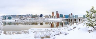 Winter Landscape of Portland Oregon. Snowy Landscape of Portland Oregon USA by Waterfront stock image