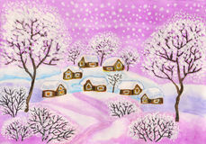 Winter landscape in purple colours, painting. Hand painted Christmas picture, winter landscape with houses and trees in purple colours, used watercolours stock illustration
