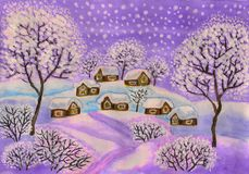 Winter landscape in purple colours, painting. Hand painted Christmas picture, winter landscape with houses and trees in purple colours, used watercolour, gouache royalty free illustration