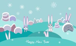 Winter landscape with rabbits Stock Photo