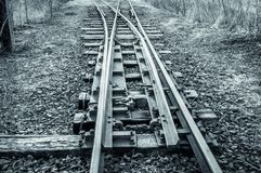Winter landscape with rail. In black and white color stock images