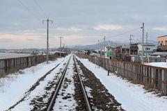 Winter landscape with railroad Stock Images