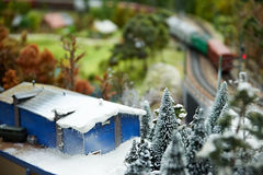 Winter landscape and railway Stock Photography