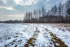 Winter landscape with raised hide and snow covered countryside. Winter landscape with snow covered countryside and raised hide. European winter landscape Royalty Free Stock Images