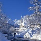 Winter landscape in Ramsau, Bavaria, Germany stock photos