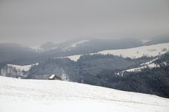 Winter mountain landscape. Winter landscape at Rasinari - Paltinis, Sibiu Royalty Free Stock Photography