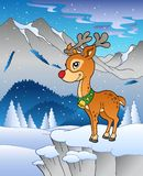 Winter landscape with reindeer 1. Illustration Royalty Free Stock Images
