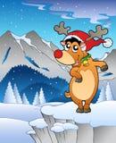 Winter landscape with reindeer 2. Illustration Royalty Free Illustration