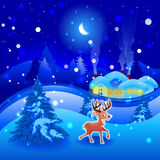 Winter landscape. With reindeer in Christmas Vector Illustration