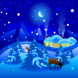 Winter landscape. With reindeer in Christmas Stock Illustration