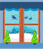 Winter landscape with reindeer, houses and Santa. Illustration Stock Photo