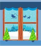 Winter landscape with reindeer, houses and Santa. Illustration Stock Illustration