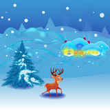 Winter landscape with reindeer. In New Years eve Vector Illustration