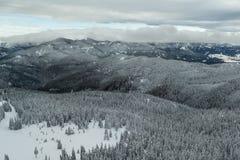 Winter landscape of Rhodope Mountains near Pamporovo resort from Snezhanka tower, Smolyan Region, Bulgaria Royalty Free Stock Photography