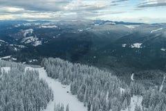 Winter landscape of Rhodope Mountains near Pamporovo resort from Snezhanka tower, Smolyan Region, Bulgaria Royalty Free Stock Image