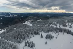 Winter landscape of Rhodope Mountains near Pamporovo resort from Snezhanka tower, Smolyan Region, Bulgaria Stock Photography
