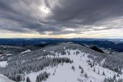 Winter landscape of Rhodope Mountains near Pamporovo resort from Snezhanka tower, Smolyan Region, Bulgaria Stock Photo