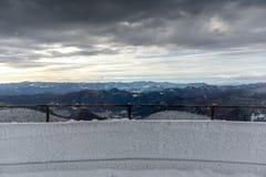 Winter landscape of Rhodope Mountains near Pamporovo resort from Snezhanka tower, Smolyan Region, Bulgaria Stock Images