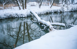 Winter landscape with rive Stock Photography