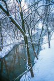 Winter landscape with rive Royalty Free Stock Photos