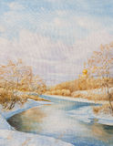 Winter landscape with a rive. R. Oil painting on canvas Stock Image