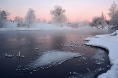 Winter landscape with river Royalty Free Stock Images