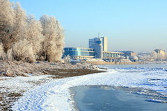 Winter landscape. River-boat station. Royalty Free Stock Images