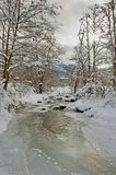 Winter landscape with a river covered with ice in a cloudy day Royalty Free Stock Image