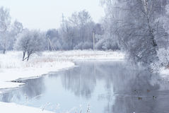 Winter landscape on the river. Royalty Free Stock Photos