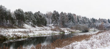 Winter Landscape With River Stock Images