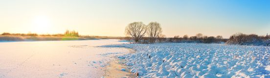 Winter landscape with the river in frosty day Stock Photography