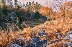 Winter landscape at river Luznice Royalty Free Stock Image