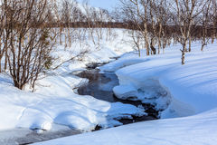 Winter landscape with river and mountain Stock Images