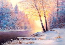 Christmas forest with river. Winter landscape with the river.Original  oil painting Stock Images
