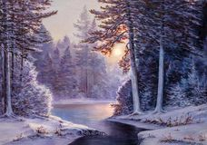 Christmas forest with river. Winter landscape with the river.Original  oil painting Royalty Free Stock Images