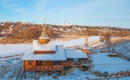 Winter landscape with river Protva Stock Photos