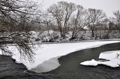 Winter landscape on the river Stock Photo
