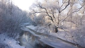 Winter river. Sunny frosty day. Royalty Free Stock Photo