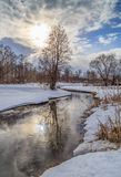 Winter landscape, river, snow. Sun through the clouds, on the banks of alder Royalty Free Stock Photography